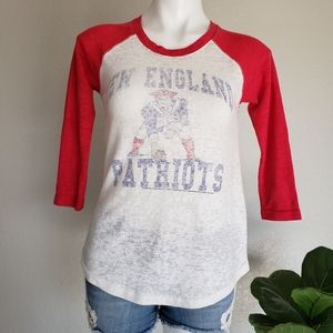 Junk Food New England Patriots Burnout Raglan Tee